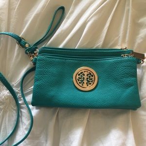 Teal crossbody/clutch